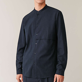 COS - COS grandad shirt with pocket in blue