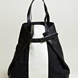 DRIES VAN NOTEN - WOMEN'S SNAKE SKIN PANEL TOTE BAG