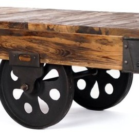 Carnegie Industrial Style Bar Table with Crank, Wood Top industrial dining tables