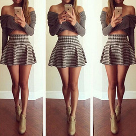 Sexy Houndstooth Dress Two-piece Set