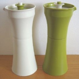 Tupperware - Pair of vintage Tupperware oil and vinegar bottles (olive green and off-white), c.1970s (SOLD)