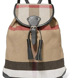 Burberry - Leather-trimmed checked jute and cotton-blend canvas backpack