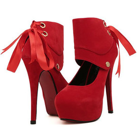 Spring Fashion Back Ribbon - Spring Fashion Back Ribbon Design Red High Heel Shoes