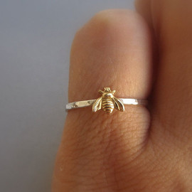 lunahoo - Simple tiny sterling silver bee ring, silver and gold brass stacking ring, hammered band ring