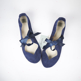 elehandmade - Heart Shaped Soft Navy Blue Handmade Ballet Flats