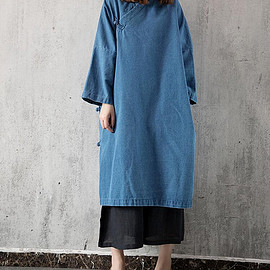 oversized Gown - cowboy Loose long sleeved large size Dresses women oversized Gown