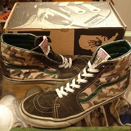 "vans - 「<used>90's vans SK-8 HI darkgreen/camo""made in USA"" W/BOX size:US9(27cm) 13000yen」完売"