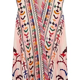 Chloé - Embroidered striped linen and silk-blend tunic