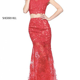 long prom dresses 2018 - 2-Piece Appliqued Sherri Hill 51013 Coral Lace Slim Dress Spring 2017