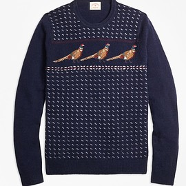 Brooks Brothers - Pheasant-Motif Lambswool Sweater