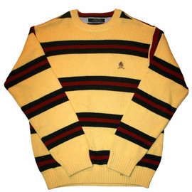 TOMMY HILFIGER - Vintage Striped Tommy Hilfiger Crest Logo Sweater Mens Size Small