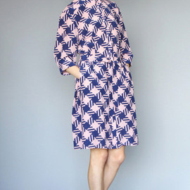 KAREN WALKER - Shirt Dress Houndstooth Crepe de Chine