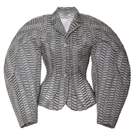 THOM BROWNE - FW2014 Notch Collar Round Shoulder Jacket With Radial Stitching