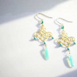 Ostara - 14kgf Filigree Earrings/Turquoise/Vintage glass/Czech Glass