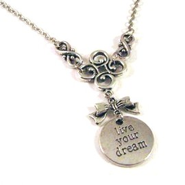 Luulla - Live Your Dream antiqued silver round pendant necklace jewelry - Bow necklace - Flower necklace