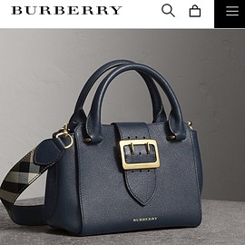BURBERRY - Small buckle tote in grainy leather - blue carbon