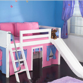 Maxtrix - Maxtrix Kids Easy Rider Twin Low Loft Bed with Curtains, Angled Ladder (slide optional)