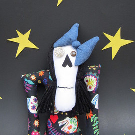 Luulla - Art Doll, Skeleton Doll, Sugar Skull, Gothic Art Doll, Cloth Doll, Tim Burton, Day Of The Dead Art, Mexican Folk Art