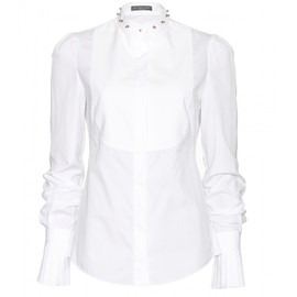 Alexander McQueen - STUDDED COTTON-PIQUÉ BLOUSE