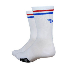 Defeet - Cyclismo 5 White w/Red & Blue Stripe Socks