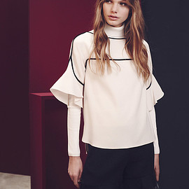 See By Chloé - See By Chloé Contrast-trim Ruffle-sleeve Top