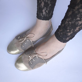 elehandmade - The Sofia Oxfords in Blush and Gold - Cute Handmade Leather Oxford Shoes