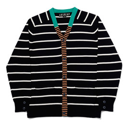 bal - FINE GAGE STRIPE KNIT CARDIGAN