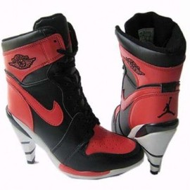 nike - womens air jordan 1 black red boots