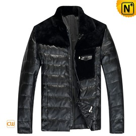 CWMALLS - Down Filled Leather Jacket Black for Men CW848109