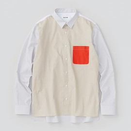 ALOYE - Color Blocks - Men's Long Sleeve Shirt (Off white-Orange)