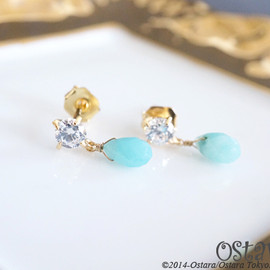 Ostara - 16KGP】Stud Earrings,Tiny Cubic Zirconia,Amazonite