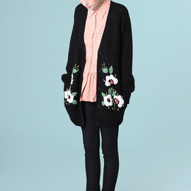 THE WHITEPEPPER - Embroidery Detail Cardigan Black