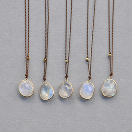 Margaret Solow - Enclosed Free Form Rainbow Moonstone Necklace