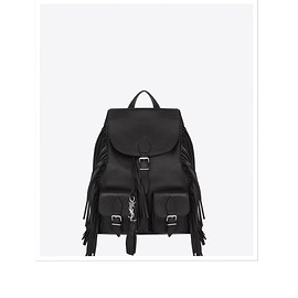 SAINT LAURENT by hedi slimane - FESTIVAL FRINGED BACKPACK IN BLACK LEATHER