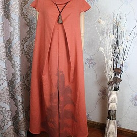 long linen dress - women dress, brick red dress, print long dress, Short sleeve dress, Maxi dress
