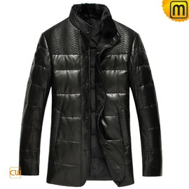 CWMALLS - Mens Black Leather Down Filled Jacket CW848387