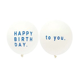 UNICOM - Balloon 5pcs  BIRTHDAY/THANK YOU|ホワイト×ブルー