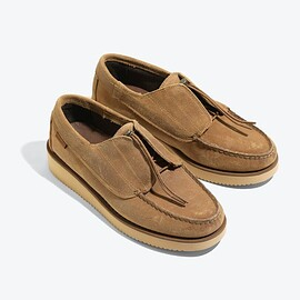 ENGINEERED GARMENTS - EG X SEBAGO COVERDECK  BEIGE WAXY SUEDE