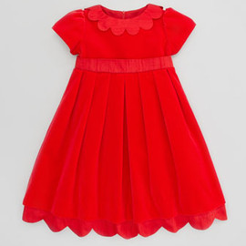 Florence Eiseman - Shantung Scallop-Trim Velvet Dress