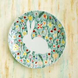 roootreee - Hand painted porcelain plate - Bunny rabbit in wildflowers