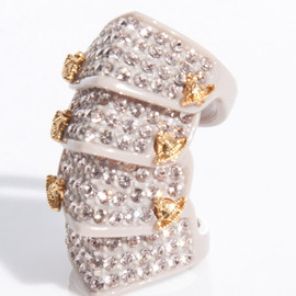 Vivienne Westwood - Pave Resin Armor Ring in Bone