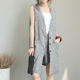 sleeveless top - Gray Striped shirt, Summer Cardigan, linen gown, sleeveless top, women Everyday linen clothing