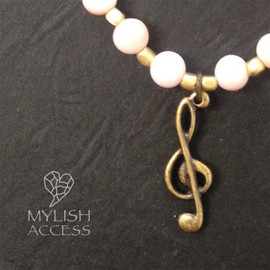 mylish accessories - conch shell bracelet with G clef #ブレスレット #アクセサリー #音楽