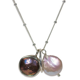 Satya Scainetti & Beth Torstrick - NECKLACE BLK/W COIN PEARL HOOP
