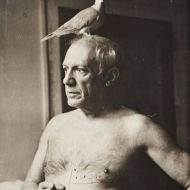Pablo Picasso with dove