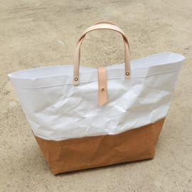 Belltastudio - Can custom order! :) Two tone paper bag Kraft and Tyvek paper big size snap handles leather