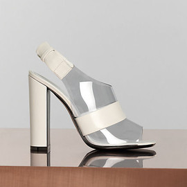 CELINE - 115 mm Optic Sling Back Sandal in White Shiny Calfskin & Neutral Vinyl