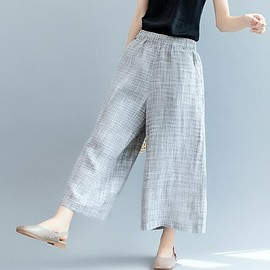 Linen pants - Fashion Linen pants, wide leg pants, Grey Linen Pants for Woman, Pocket trousers