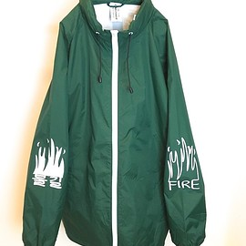 OMIYAGE - FIRE GRAFFITI NYLON STAND JACKET (GREEN)