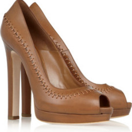 Alexander McQueen - Stitched leather peep-toe pumps
